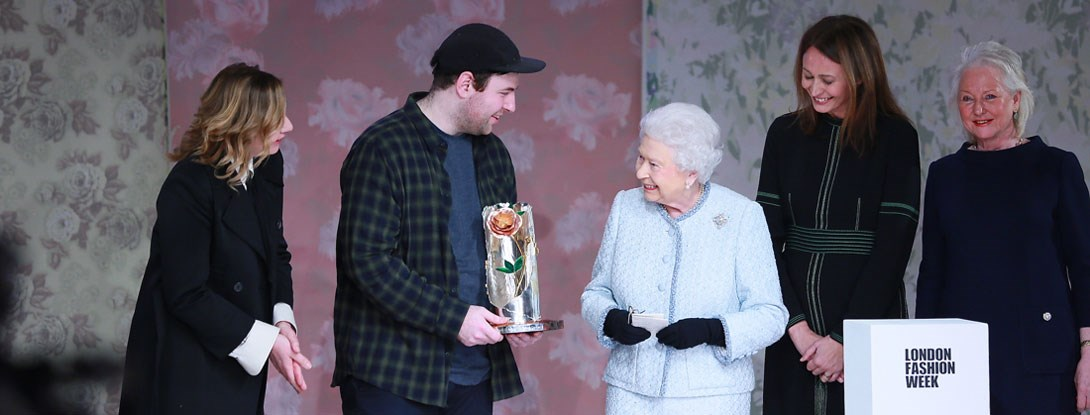 Richard Quinn receives the inaugural Queen Elizabeth II Award for Design